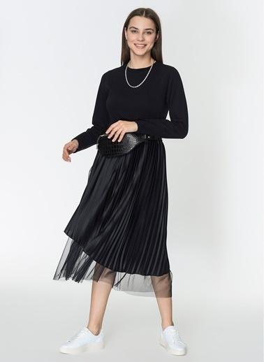 Loves You Eteği Piliseli Tül Garnili Örme Elbise Siyah